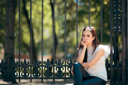 Bored Alone Woman Waiting Outdoors