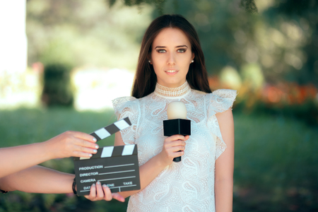 Professional Female Talent Auditioning for Movie Film Video Casting Stockfoto
