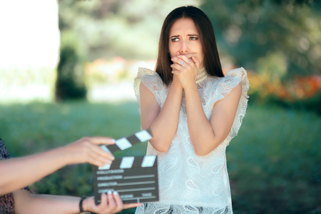 Scared Actress Auditioning for Movie Film Video Casting Imagens - 94031433