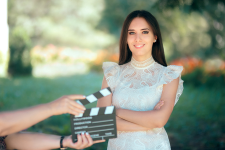Smiling  Actress Auditioning for Movie Film Video Casting