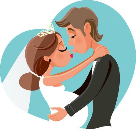 Pregnant Bride Kissing Groom Vector Cartoon