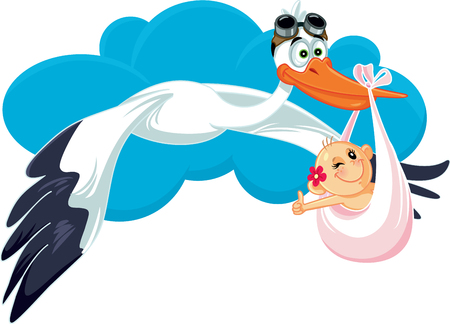Stork Carrying Baby Girl Vector Cartoon Illustration