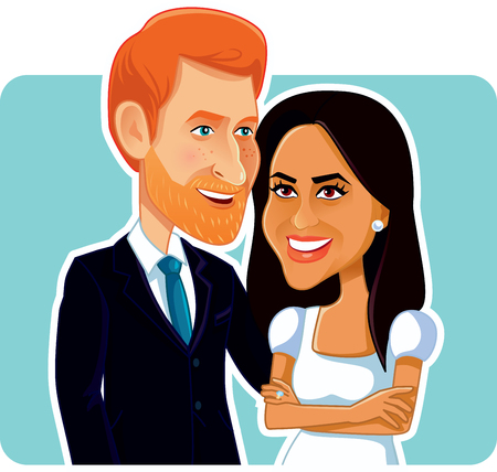 Editorial Illustration of Meghan Markle and Prince Harry 스톡 콘텐츠