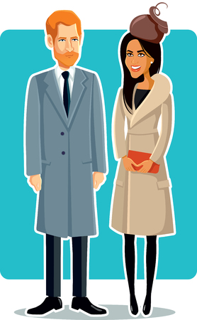 Meghan Markle and Prince Harry Editorial Illustration Banco de Imagens - 94611483