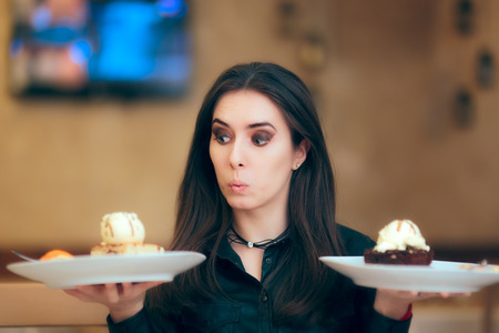 Girl Trying to Decide Between Vanilla and Chocolate Cake Dessert