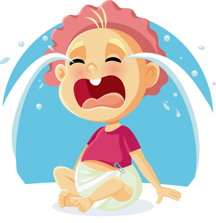 Funny Baby Crying Vector Cartoon Illustration