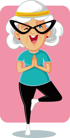 Sporty Granny in Yoga Pose Vector Cartoon Vettoriali