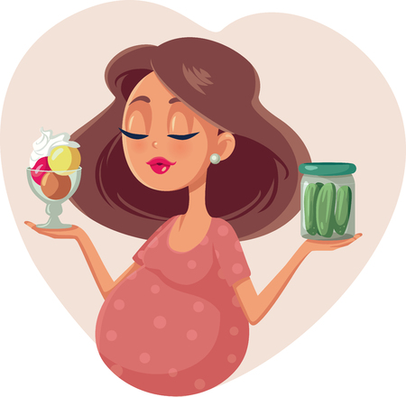 Pregnant Woman Choosing Between Ice Cream and Pickles Cartoon Illustration.
