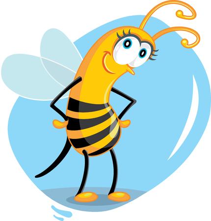 Cute Cartoon Bee Vector Illustration isolated on plain background.