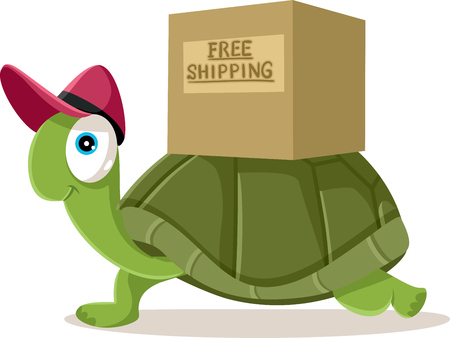 Funny Courier Turtle Free Shipping Concept Vector Cartoon
