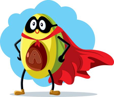 Superhero Avocado Vector Cartoon