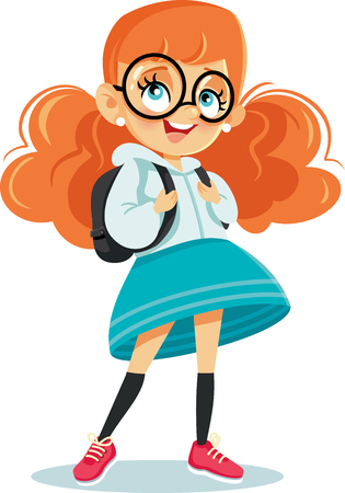 Cute School Girl with Backpack Vector Cartoon Illustration