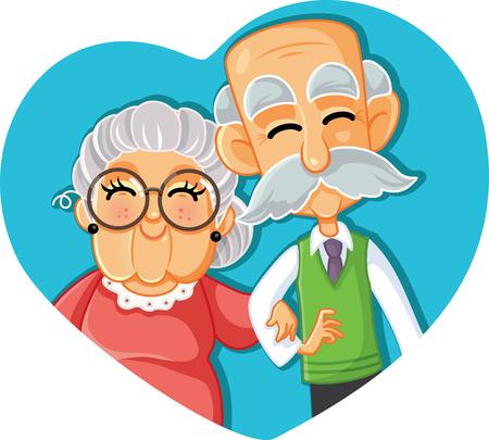 Ältere Paare in der Liebes-Vektor-Karikatur-Illustration