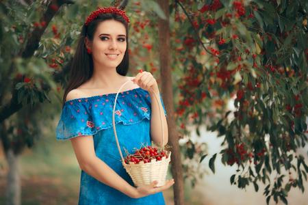 Summer Fashion Girl Holding Cherry Basket
