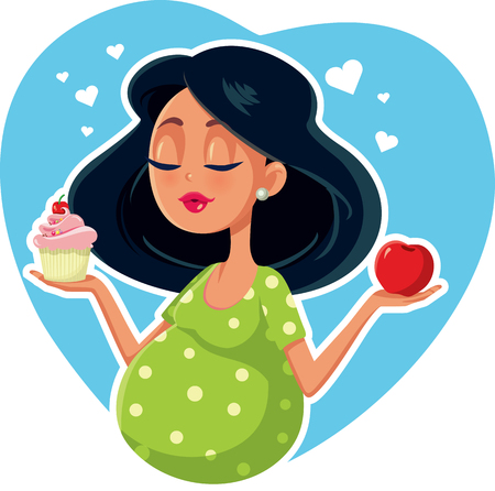 Pregnant Woman Choosing Between Apple and Cupcake Vectores