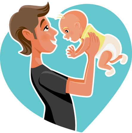 Happy Father Holding His Baby Cartoon Illustration