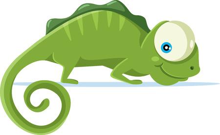 Cute Chameleon Vector Cartoon Illustration.