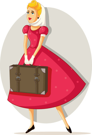 Retro Travel Girl Vector Cartoon