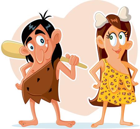 Funny Prehistoric Couple Vector Cartoon