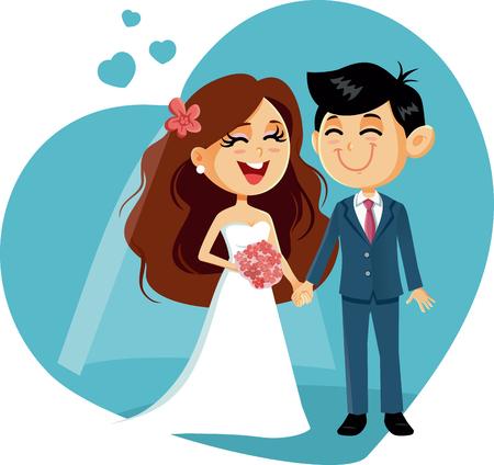 Happy Wedding Couple Vector Invitation Vettoriali