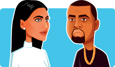 N.Y.,U.S. June 9, 2018, Kim Kardashian and Kanye West Vector Caricature Фото со стока