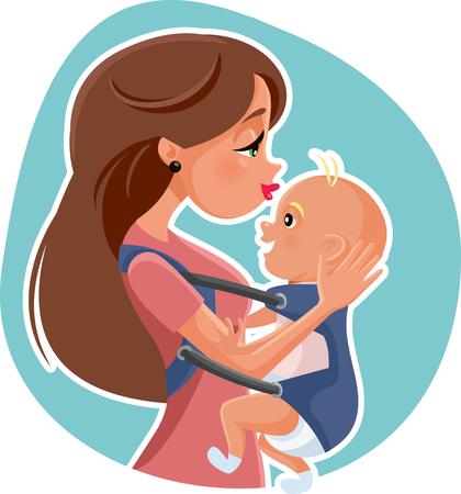 Feliz, madre, con, bebé, vector, ilustración