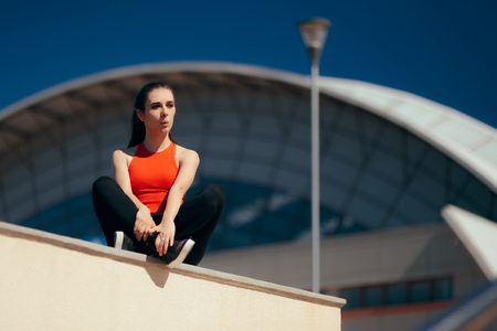 Urban Sports Girl Resting After Outdoors Training Session