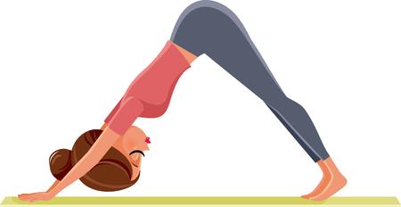 Yoga Girl in Down Dog Pose Exercising on Mat Illustration