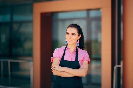 Female Restaurant Bar Employee in Front of her Workplace