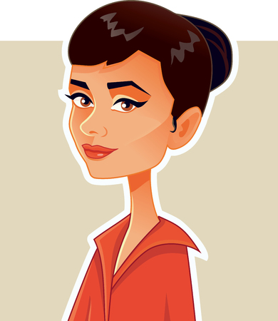 L.A.,USA, 15 July, Audrey Hepburn Vector Caricature Illustration