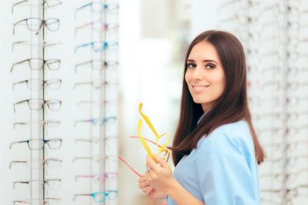 Girl Choosing Eyeglasses Frames in Optical Store