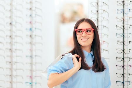Girl Shopping for Glasses on Sale Season in Optic Store
