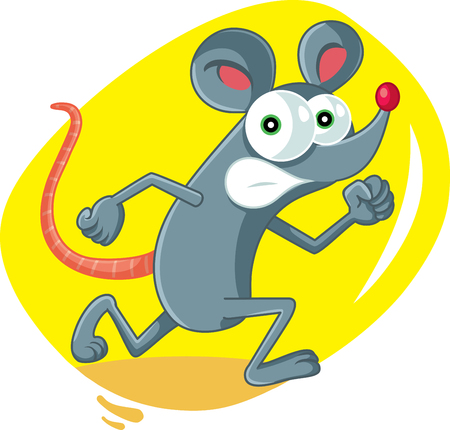 Funny Cartoon Rat Running Scared