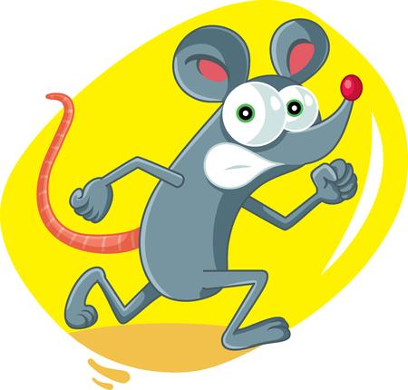 Funny Cartoon Rat Running Scared