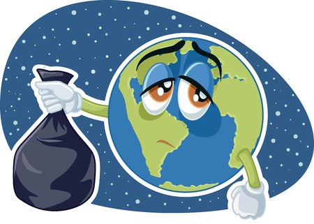 Planet Earth Holding Plastic Trash Bag Vector Cartoon