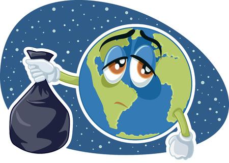 Planet Earth Holding Plastic Trash Bag Vector Cartoon