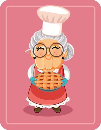 Abuela, tenencia, tarta casera, vector, ilustración