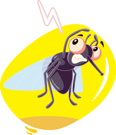 Przestraszony owad mucha wektor kreskówka Ilustracje wektorowe