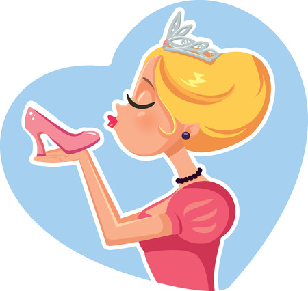 Princess Cinderella Kissing Magic Shoe Vector Illustration