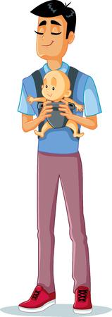 Happy Father Holding Baby in Sling Vector Illustration Vektorové ilustrace