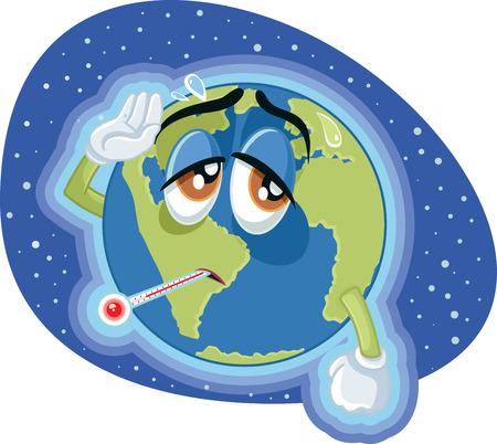 Illustrazione di concetto della terra di riscaldamento globale ad alta temperatura