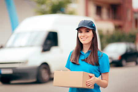 Delivery Worker Holding Cardboard Box Package Stock fotó