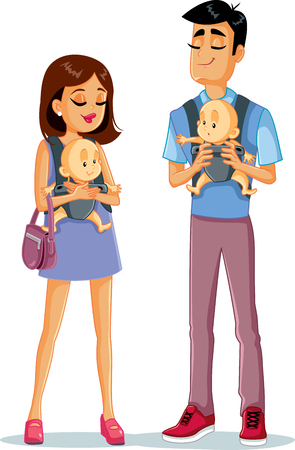 Happy Young Family with Twin Babies Illustration