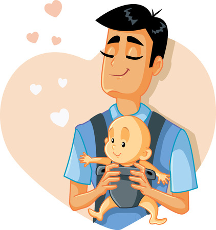 Ein liebender Vater, der eine Babyvektorillustration hält Vektorgrafik
