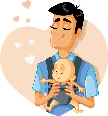 Un padre amoroso sosteniendo una ilustración de vector de bebé Ilustración de vector