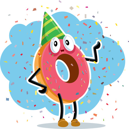 A birthday party donut celebrating with confetti Illustration