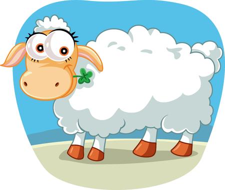 Mouton mignon mâchant une illustration de dessin animé de trèfle chanceux Vecteurs
