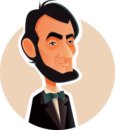 N.Y.,U.S. Occtober 1, Abraham Lincoln Vector Caricature Illustration