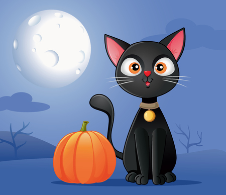 Black Cat with Halloween Pumpkin Vector Cartoon