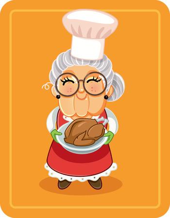 Abuela, tenencia, pavo asado, vector, ilustración Ilustración de vector